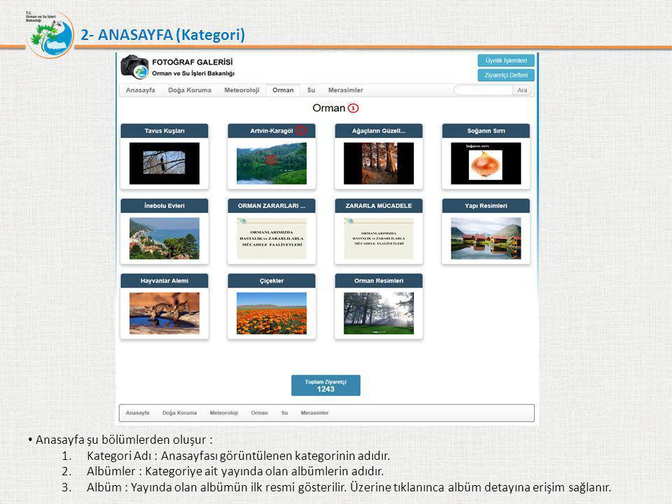 2- ANASAYFA (Kategori) • Anasayfa şu bölümlerden oluşur : 1.Kategori Adı : Anasayfası görüntülenen kategorinin adıdır. 2.Albümler : Kategoriye ait yay