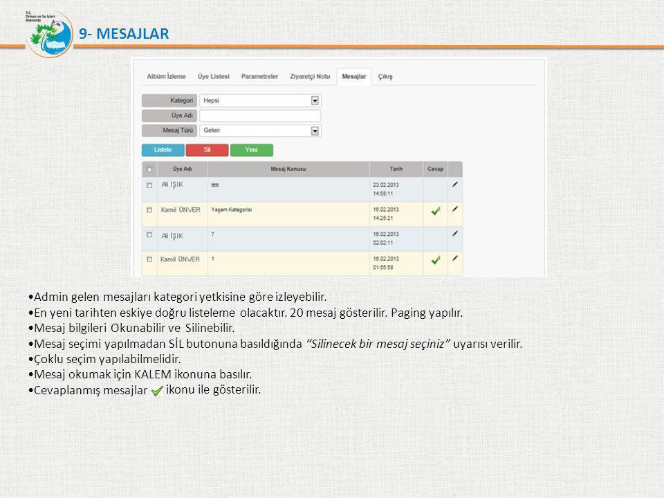 9- MESAJLAR •Admin gelen mesajları kategori yetkisine göre izleyebilir. •En yeni tarihten eskiye doğru listeleme olacaktır. 20 mesaj gösterilir. Pagin