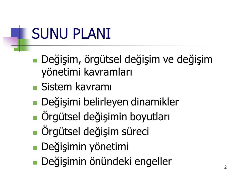 SUNU PLANI  Değişim, örgütsel değişim ve değişim yönetimi kavramları  Sistem kavramı  Değişimi belirleyen dinamikler  Örgütsel değişimin boyutları  Örgütsel değişim süreci  Değişimin yönetimi  Değişimin önündeki engeller 2