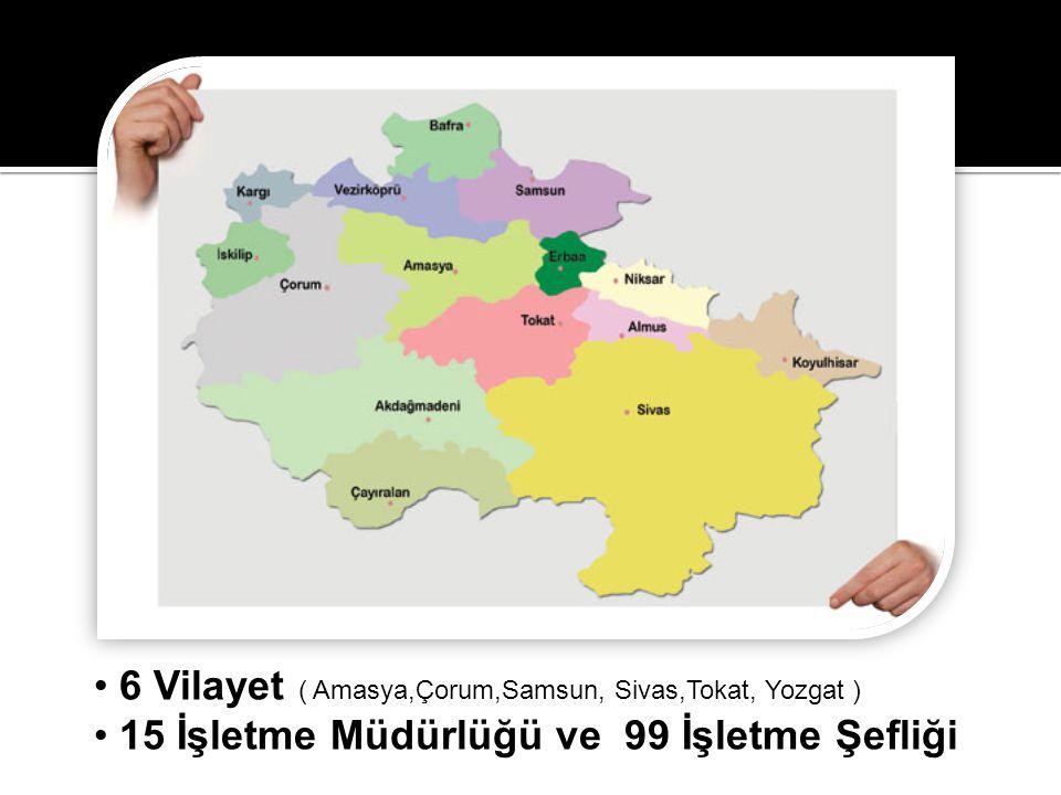 • 6 Vilayet ( Amasya,Çorum,Samsun, Sivas,Tokat, Yozgat ) • 15 İşletme Müdürlüğü ve 99 İşletme Şefliği