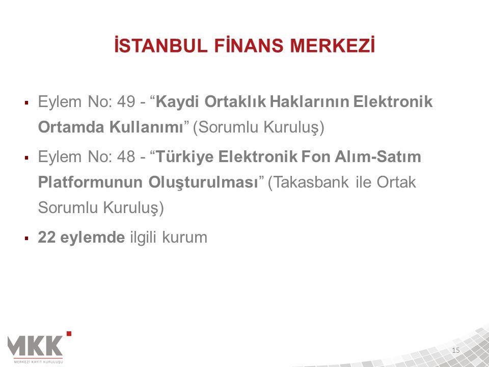 """İSTANBUL FİNANS MERKEZİ  Eylem No: 49 - """"Kaydi Ortaklık Haklarının Elektronik Ortamda Kullanımı"""" (Sorumlu Kuruluş)  Eylem No: 48 - """"Türkiye Elektron"""