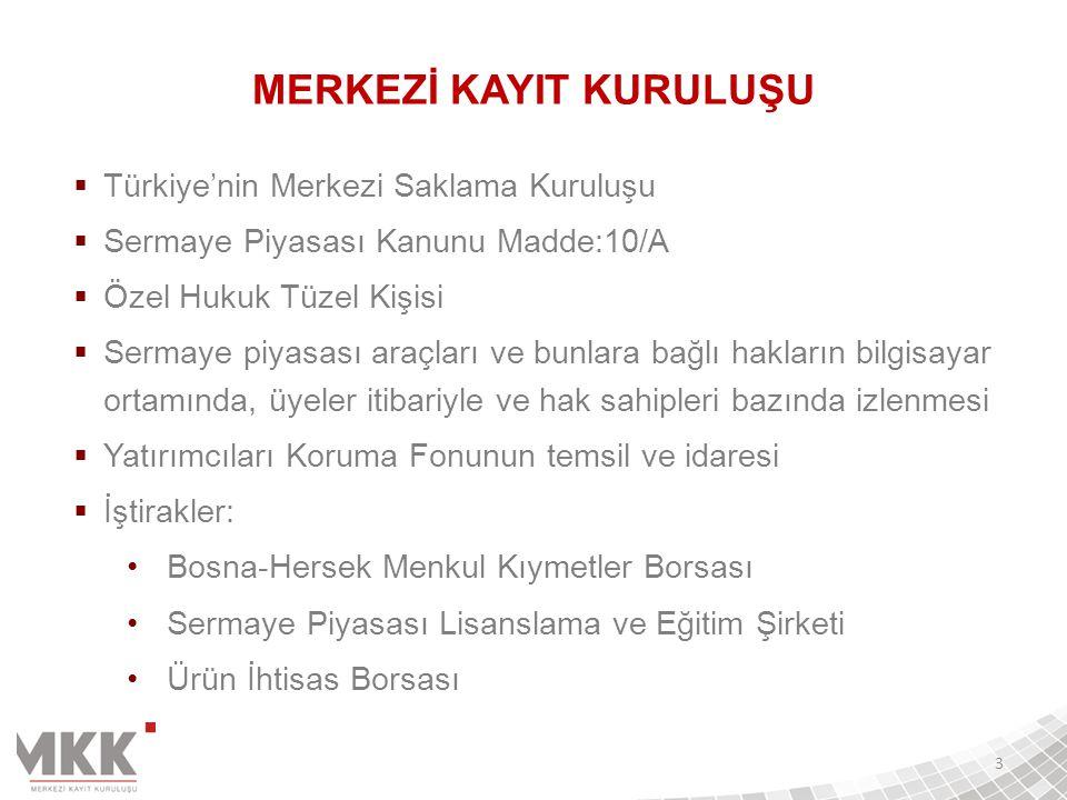  Türkiye'nin Merkezi Saklama Kuruluşu  Sermaye Piyasası Kanunu Madde:10/A  Özel Hukuk Tüzel Kişisi  Sermaye piyasası araçları ve bunlara bağlı hak