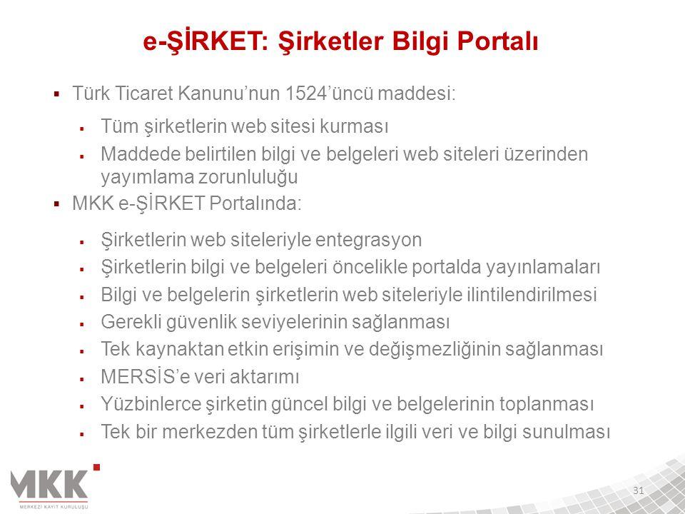 e-ŞİRKET: Şirketler Bilgi Portalı  Türk Ticaret Kanunu'nun 1524'üncü maddesi:  Tüm şirketlerin web sitesi kurması  Maddede belirtilen bilgi ve belg