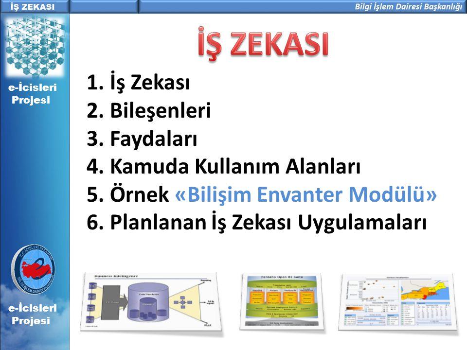 e-İcisleri Projesi 1. İş Zekası 2. Bileşenleri 3. Faydaları 4. Kamuda Kullanım Alanları 5. Örnek «Bilişim Envanter Modülü» 6. Planlanan İş Zekası Uygu