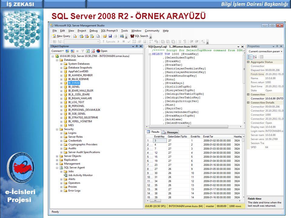 e-İcisleri Projesi SQL Server 2008 R2 - ÖRNEK ARAYÜZÜ