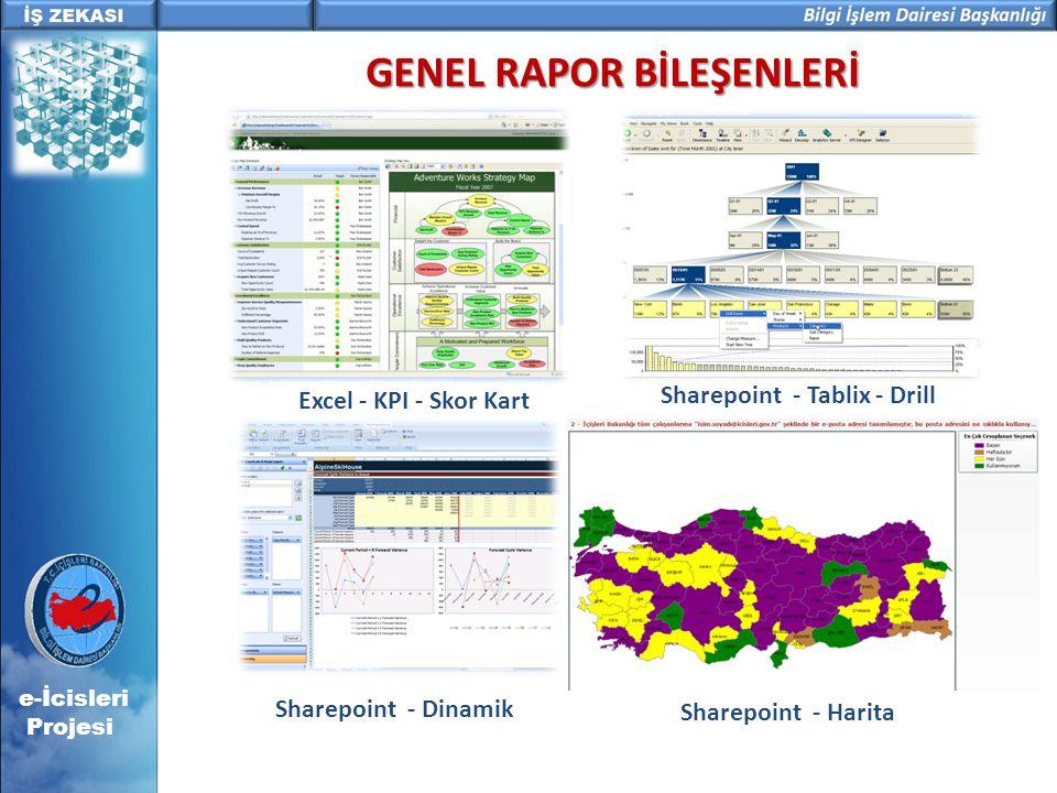 GENEL RAPOR BİLEŞENLERİ Excel - KPI - Skor Kart Sharepoint - Tablix - Drill Sharepoint - Dinamik Sharepoint - Harita e-İcisleri Projesi