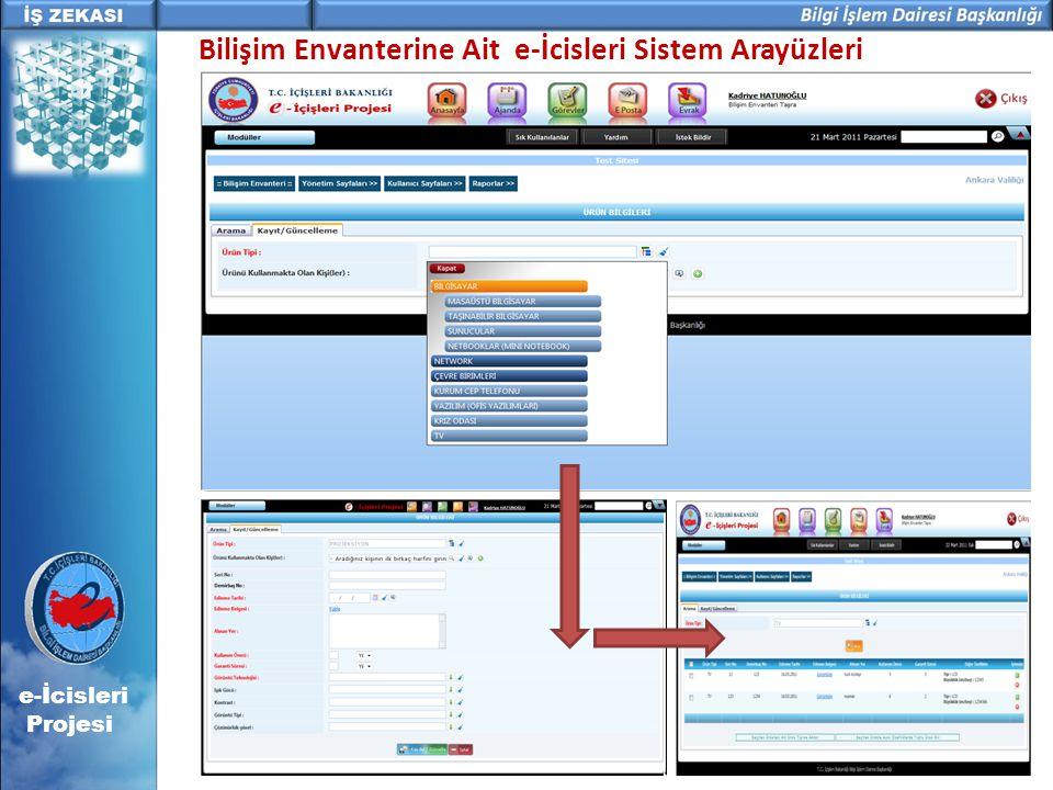 e-İcisleri Projesi Bilişim Envanterine Ait e-İcisleri Sistem Arayüzleri