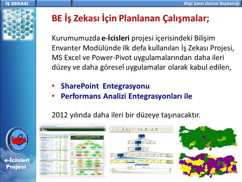 e-İcisleri Projesi BE İş Zekası İçin Planlanan Çalışmalar; Kurumumuzda e-İcisleri projesi içerisindeki Bilişim Envanter Modülünde ilk defa kullanılan