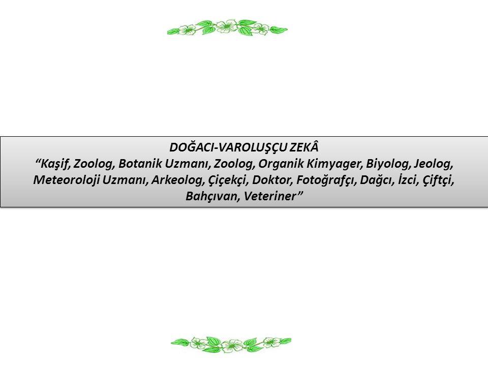 """DOĞACI-VAROLUŞÇU ZEKÂ """"Kaşif, Zoolog, Botanik Uzmanı, Zoolog, Organik Kimyager, Biyolog, Jeolog, Meteoroloji Uzmanı, Arkeolog, Çiçekçi, Doktor, Fotoğr"""