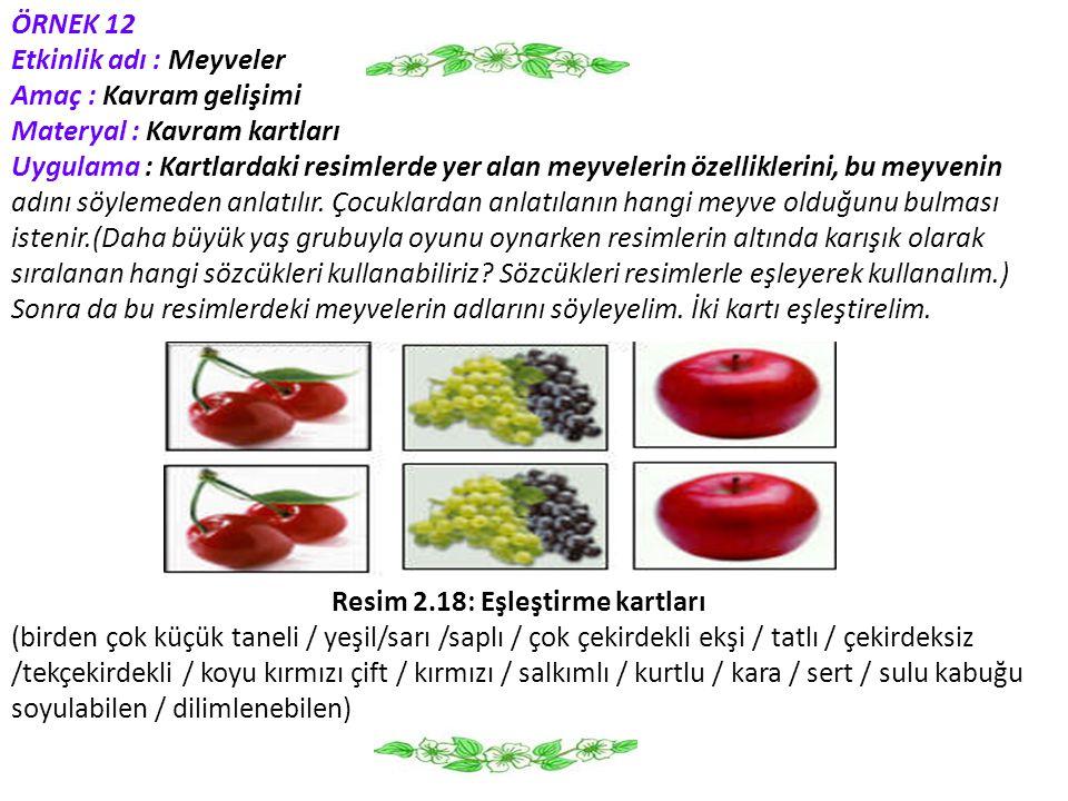 ÖRNEK 12 Etkinlik adı : Meyveler Amaç : Kavram gelişimi Materyal : Kavram kartları Uygulama : Kartlardaki resimlerde yer alan meyvelerin özelliklerini