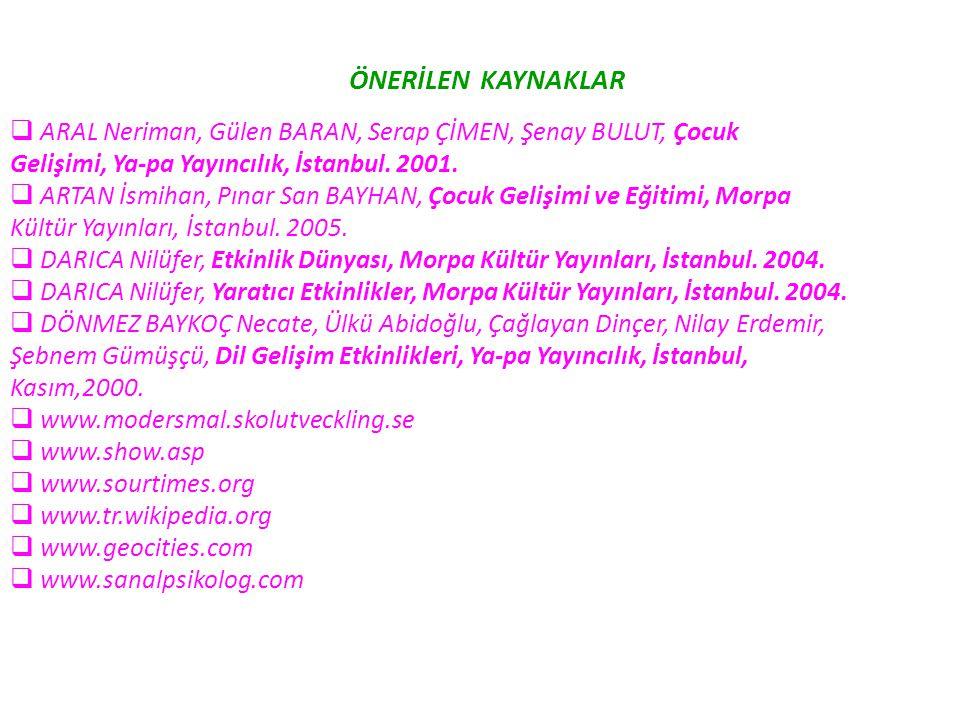 ÖNERİLEN KAYNAKLAR  ARAL Neriman, Gülen BARAN, Serap ÇİMEN, Şenay BULUT, Çocuk Gelişimi, Ya-pa Yayıncılık, İstanbul. 2001.  ARTAN İsmihan, Pınar San