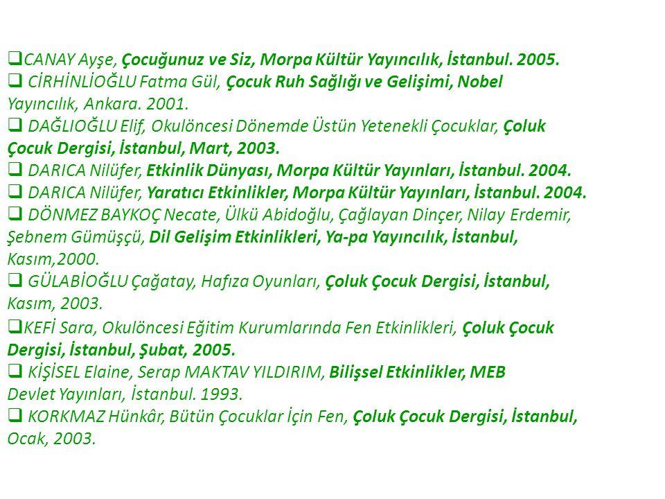  CANAY Ayşe, Çocuğunuz ve Siz, Morpa Kültür Yayıncılık, İstanbul. 2005.  CİRHİNLİOĞLU Fatma Gül, Çocuk Ruh Sağlığı ve Gelişimi, Nobel Yayıncılık, An