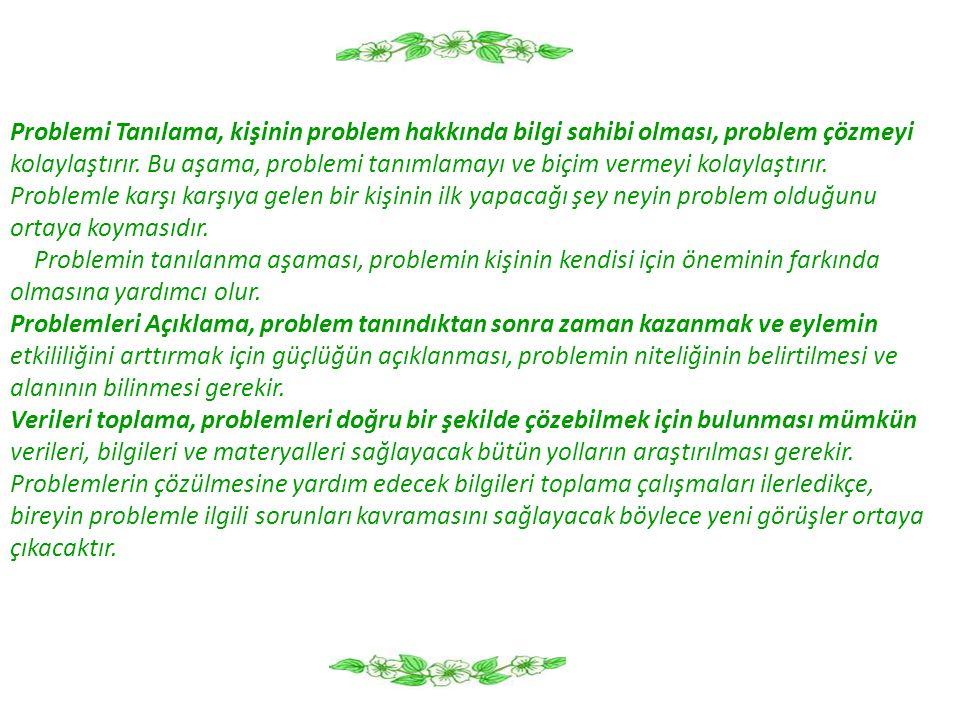 Problemi Tanılama, kişinin problem hakkında bilgi sahibi olması, problem çözmeyi kolaylaştırır. Bu aşama, problemi tanımlamayı ve biçim vermeyi kolayl