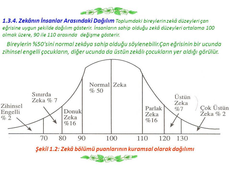 1.3.4. Zekânın İnsanlar Arasındaki Dağılım Toplumdaki bireylerin zekâ düzeyleri çan eğrisine uygun şekilde dağılım gösterir. İnsanların sahip olduğu z