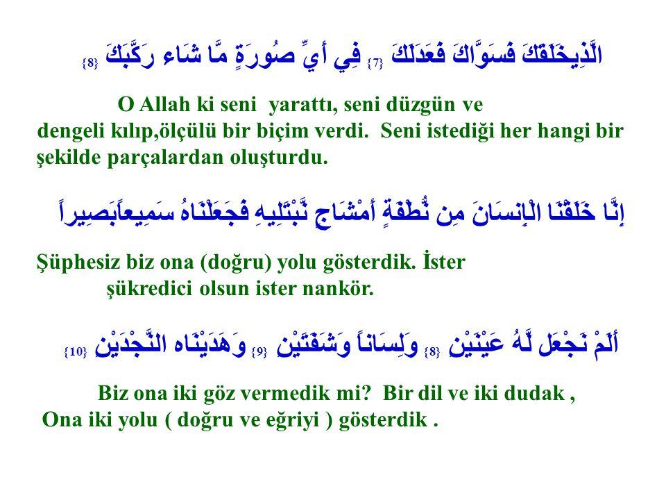 الَّذِيخَلَقَكَ فَسَوَّاكَ فَعَدَلَكَ {7} فِي أَيِّ صُورَةٍ مَّا شَاء رَكَّبَكَ {8} O Allah ki seni yarattı, seni düzgün ve dengeli kılıp,ölçülü bir b