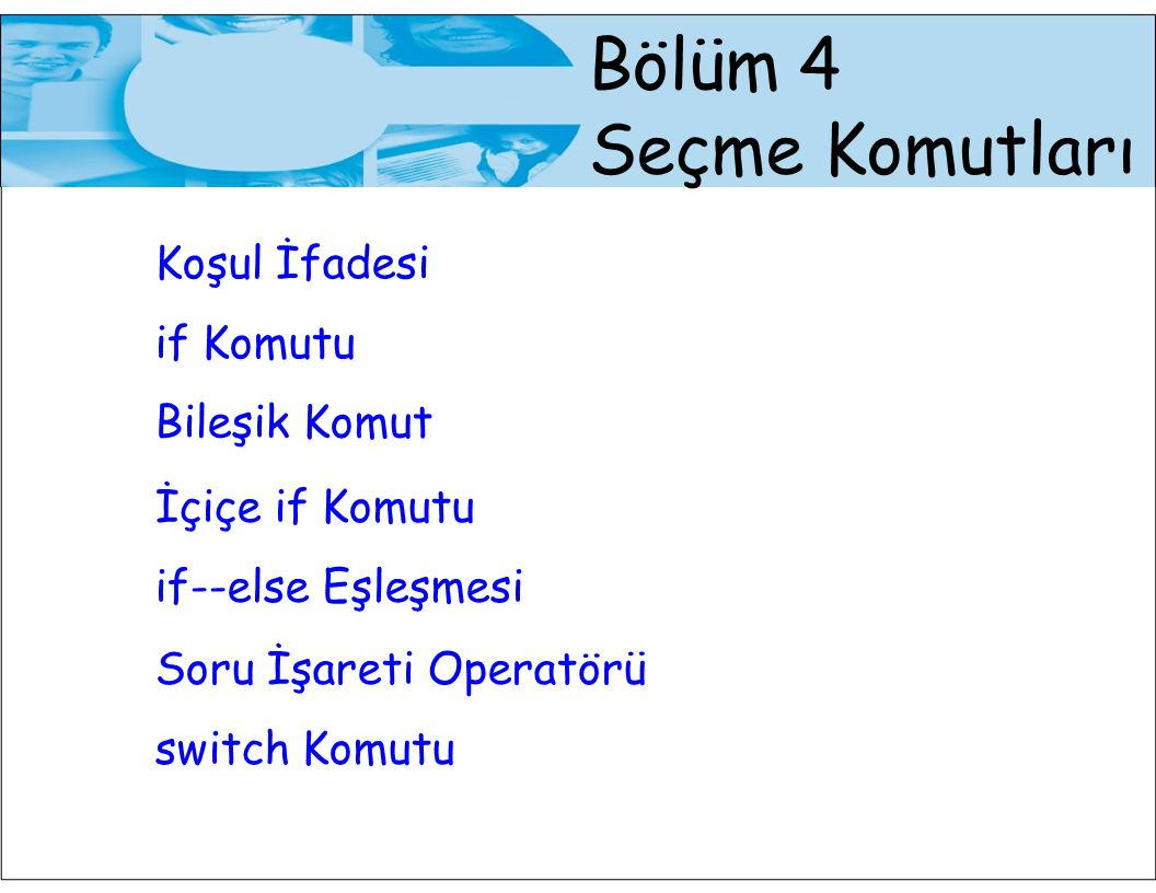 22 switch Komutu Örnek: scanf( %d ,&sinif); switch (sinif) { case 1: printf( Birinci sinif ogrencisi\n ); break; case 2: printf( Ikinci sinif ogrencisi\n ); break; case 3: printf( Ucuncu sinif ogrencisi\n ); break; case 4: printf( Dorduncu sinif ogrencisi\n ); break; case 5: printf( Yuksek lisans ogrencisi\n ); break; default: printf( Sinif bilgisi yanlis\n ); }