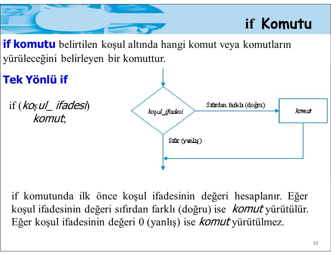 10 if Komutu if komutu belirtilen koşul altında hangi komut veya komutların yürüleceğini belirleyen bir komuttur. Tek Yönlü if if ( ko ş ul_ ifadesi )