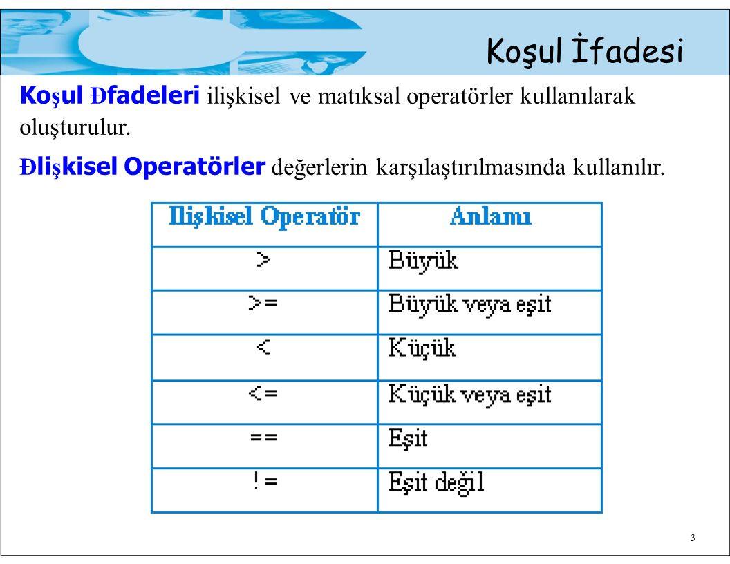 Koşul İfadesi Ko ş ul Đ fadeleri ilişkisel ve matıksal operatörler kullanılarak oluşturulur. Đ li ş kisel Operatörler değerlerin karşılaştırılmasında