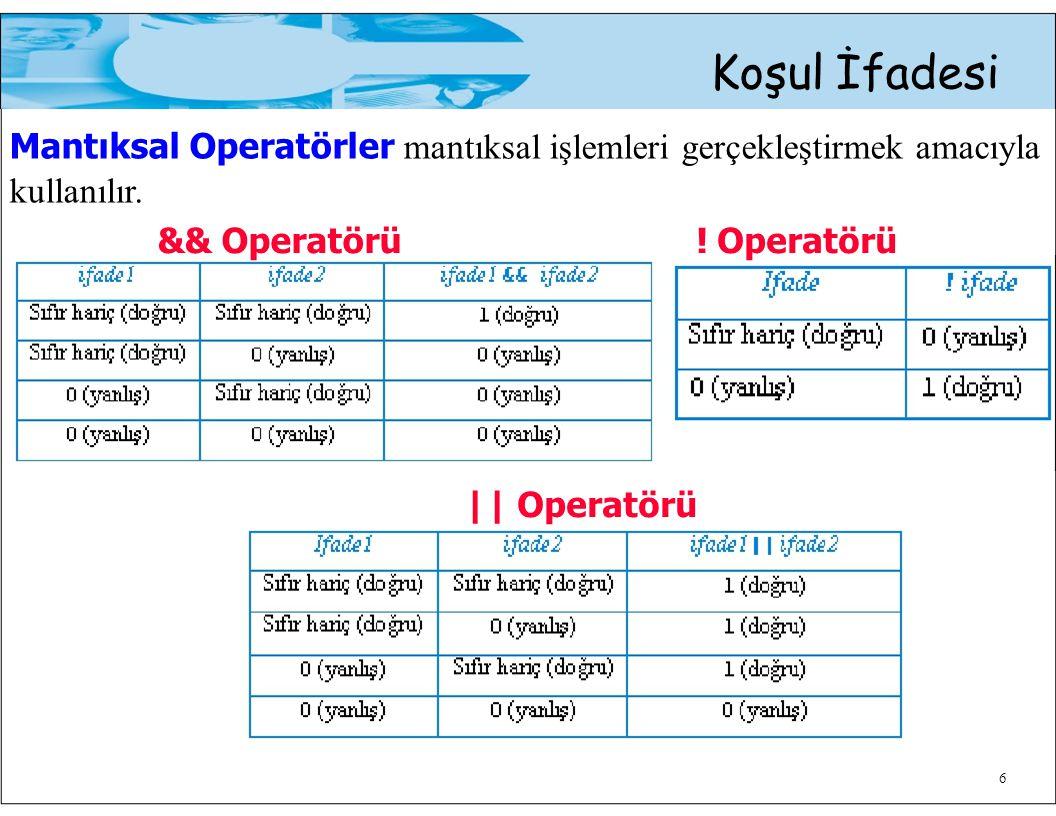 && Operatörü! Operatörü Koşul İfadesi Mantıksal Operatörler mantıksal işlemleri gerçekleştirmek amacıyla kullanılır. 6 || Operatörü