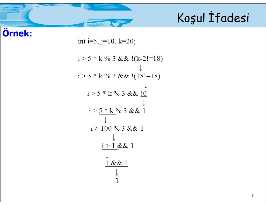 9 Koşul İfadesi Örnek: int i=5, j=10, k=20; i > 5 * k % 3 && !(k-2!=18) ↓ i > 5 * k % 3 && !(18!=18) ↓ i > 5 * k % 3 && !0 ↓ i > 5 * k % 3 && 1 ↓ i >
