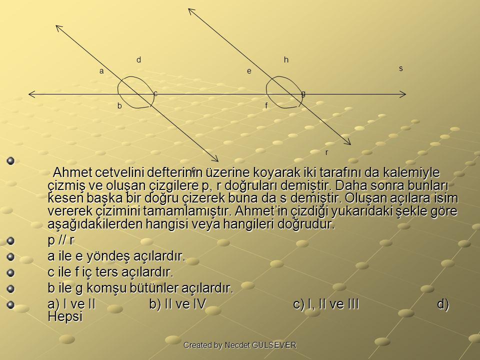 a b c d e f g h p r s A hmet cetvelini defterinin üzerine koyarak iki tarafını da kalemiyle çizmiş ve oluşan çizgilere p, r doğruları demiştir.