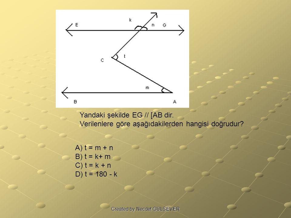 Yandaki şekilde EG // [AB dir. Verilenlere göre aşağıdakilerden hangisi doğrudur? A) t = m + n B) t = k+ m C) t = k + n D) t = 180 - k Created by Necd