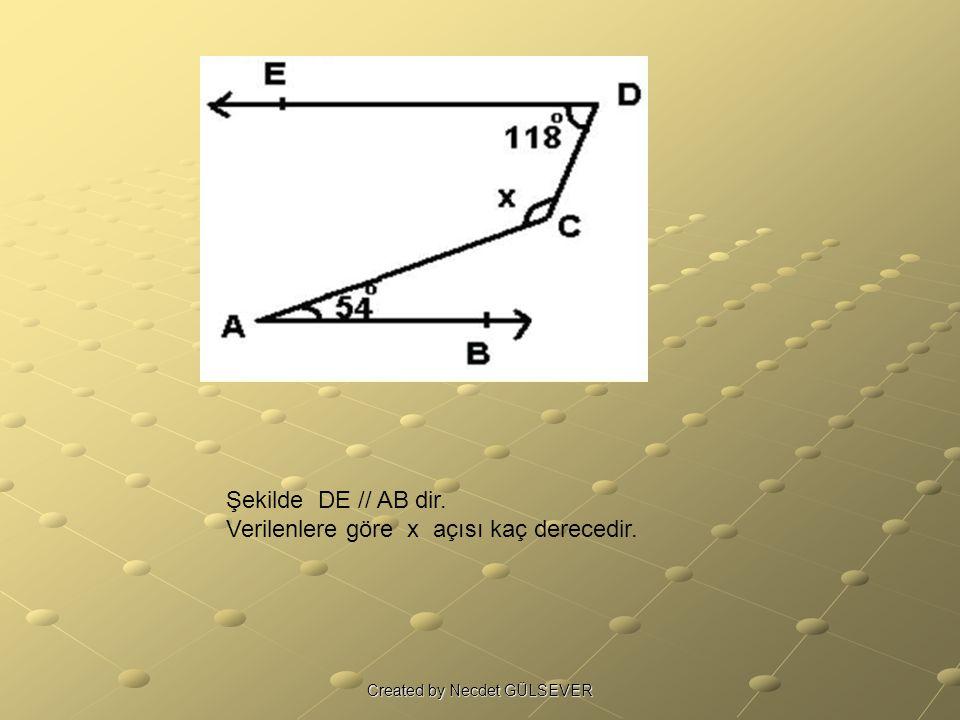 Şekilde DE // AB dir. Verilenlere göre x açısı kaç derecedir. Created by Necdet GÜLSEVER
