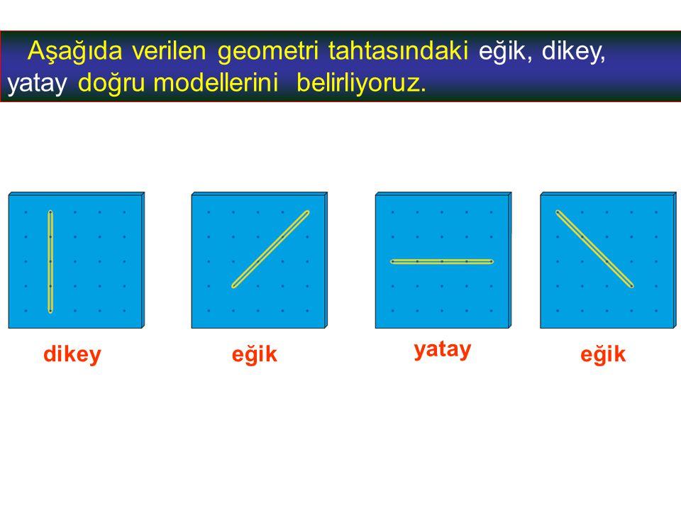 Aşağıda verilen geometri tahtasındaki eğik, dikey, yatay doğru modellerini belirliyoruz.