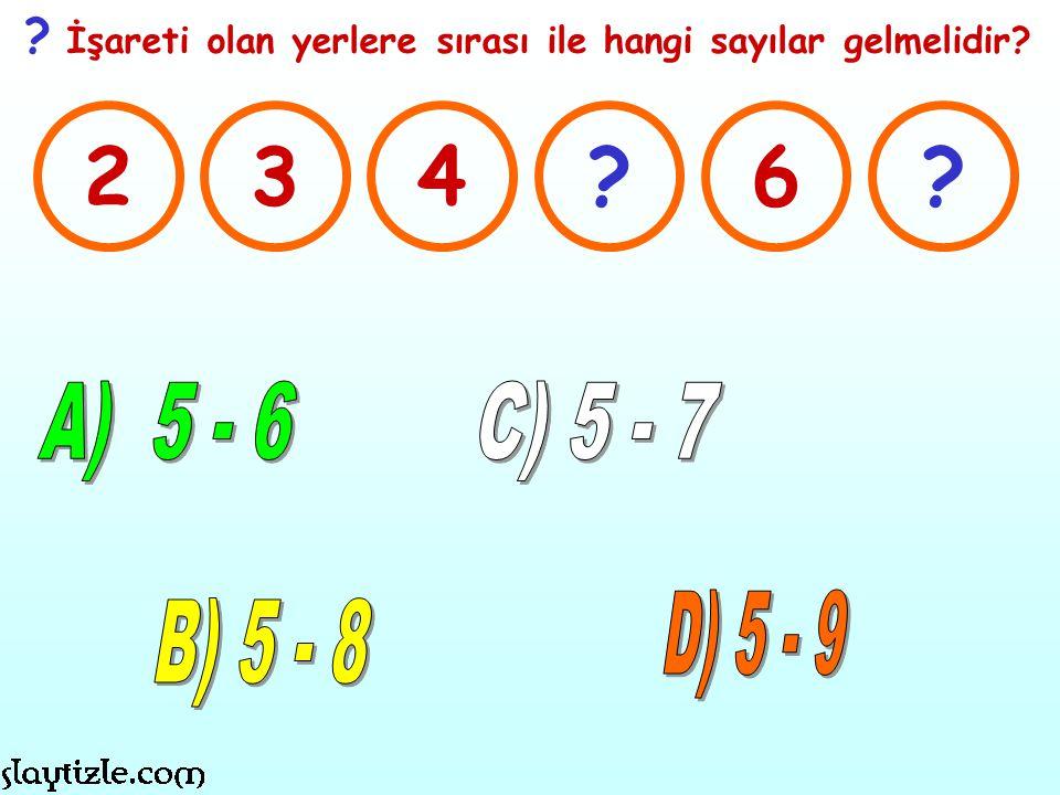 ? İşareti olan yerlere sırası ile hangi sayılar gelmelidir? 234?6?
