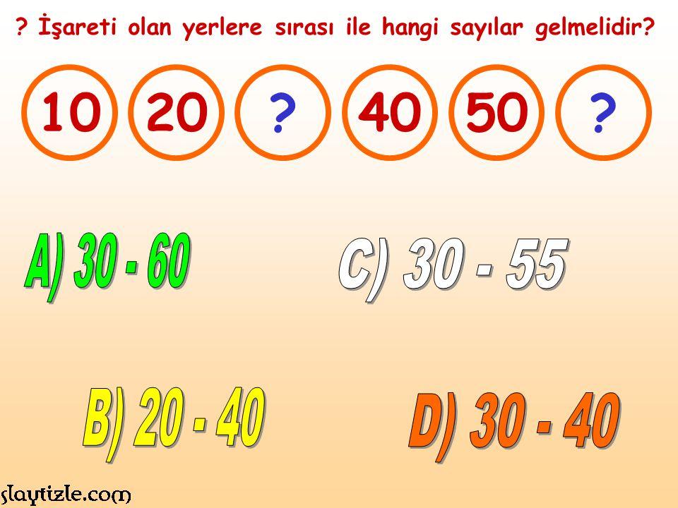 1020?4050? ? İşareti olan yerlere sırası ile hangi sayılar gelmelidir?