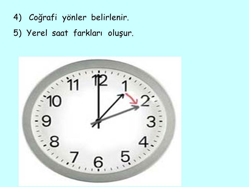 4) Coğrafi yönler belirlenir. 5) Yerel saat farkları oluşur.