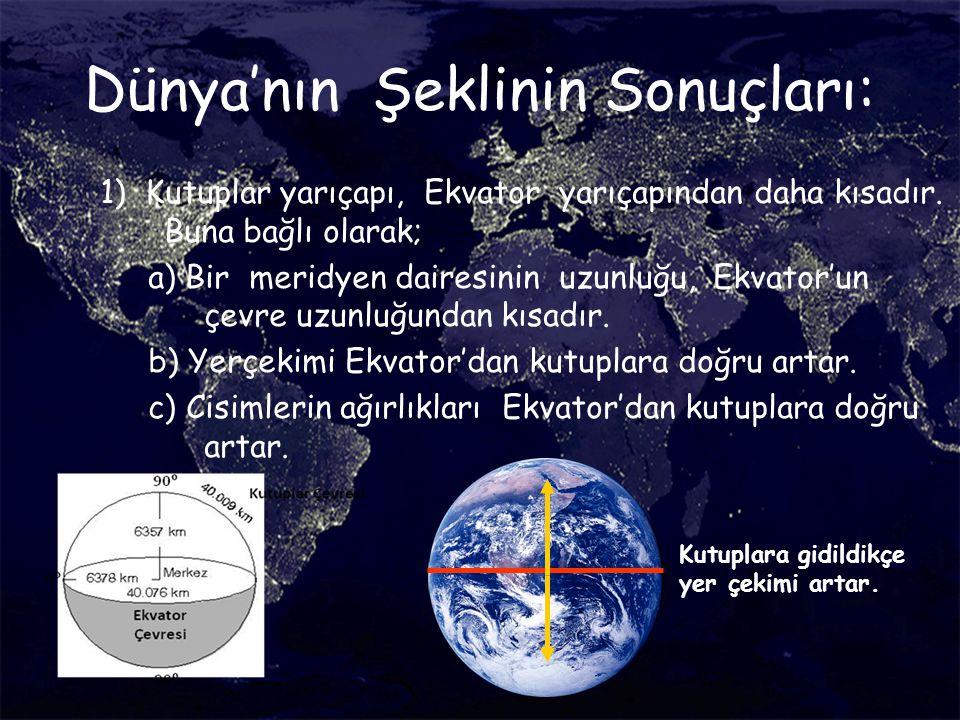 Dünya'nın Şeklinin Sonuçları: 1) Kutuplar yarıçapı, Ekvator yarıçapından daha kısadır. Buna bağlı olarak; a) Bir meridyen dairesinin uzunluğu, Ekvator