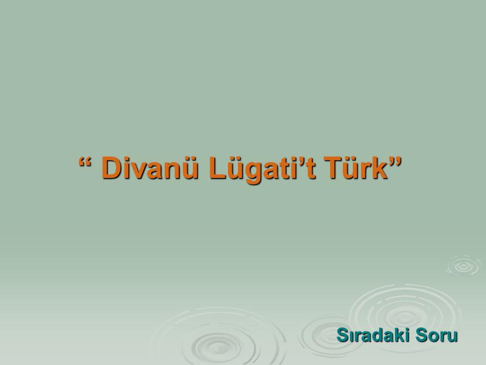 """"""" Divanü Lügati't Türk"""" Sıradaki Soru Sıradaki Soru"""
