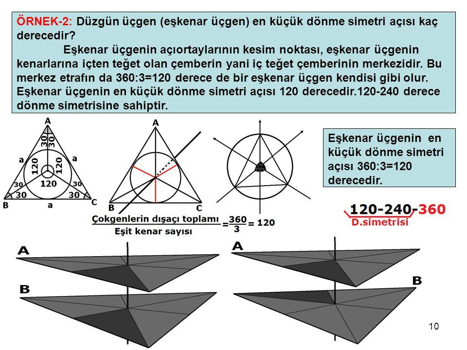 10 ÖRNEK-2: Düzgün üçgen (eşkenar üçgen) en küçük dönme simetri açısı kaç derecedir? Eşkenar üçgenin açıortaylarının kesim noktası, eşkenar üçgenin ke