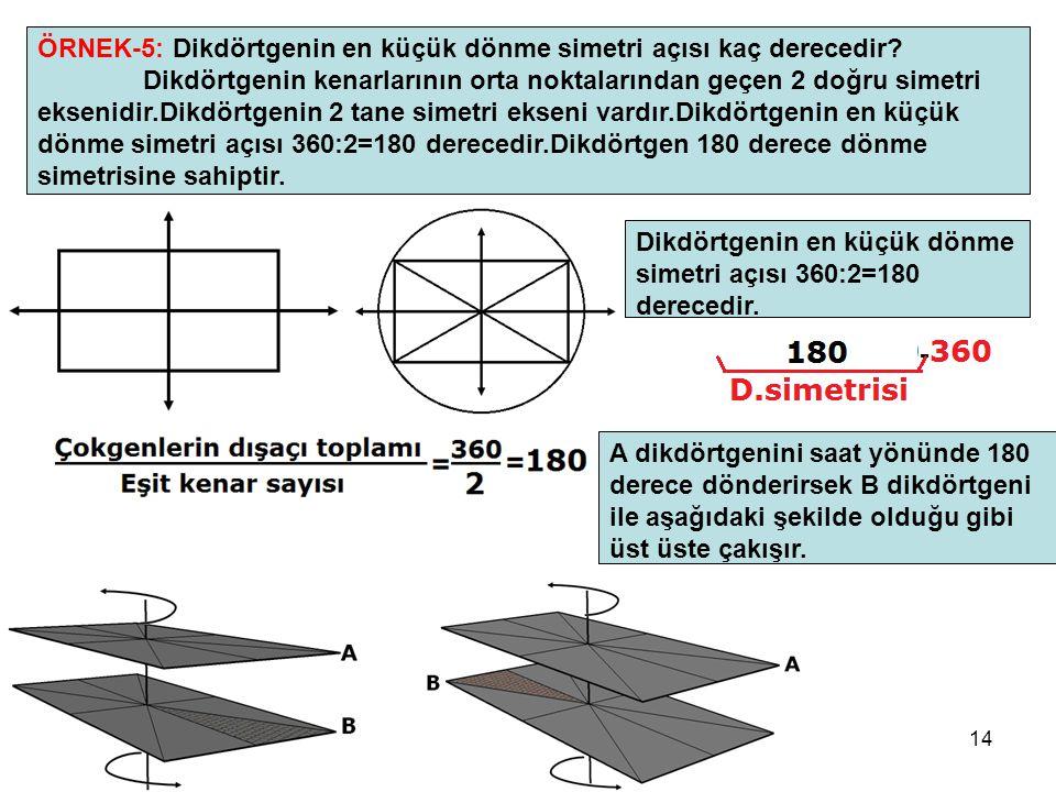 14 ÖRNEK-5: Dikdörtgenin en küçük dönme simetri açısı kaç derecedir? Dikdörtgenin kenarlarının orta noktalarından geçen 2 doğru simetri eksenidir.Dikd