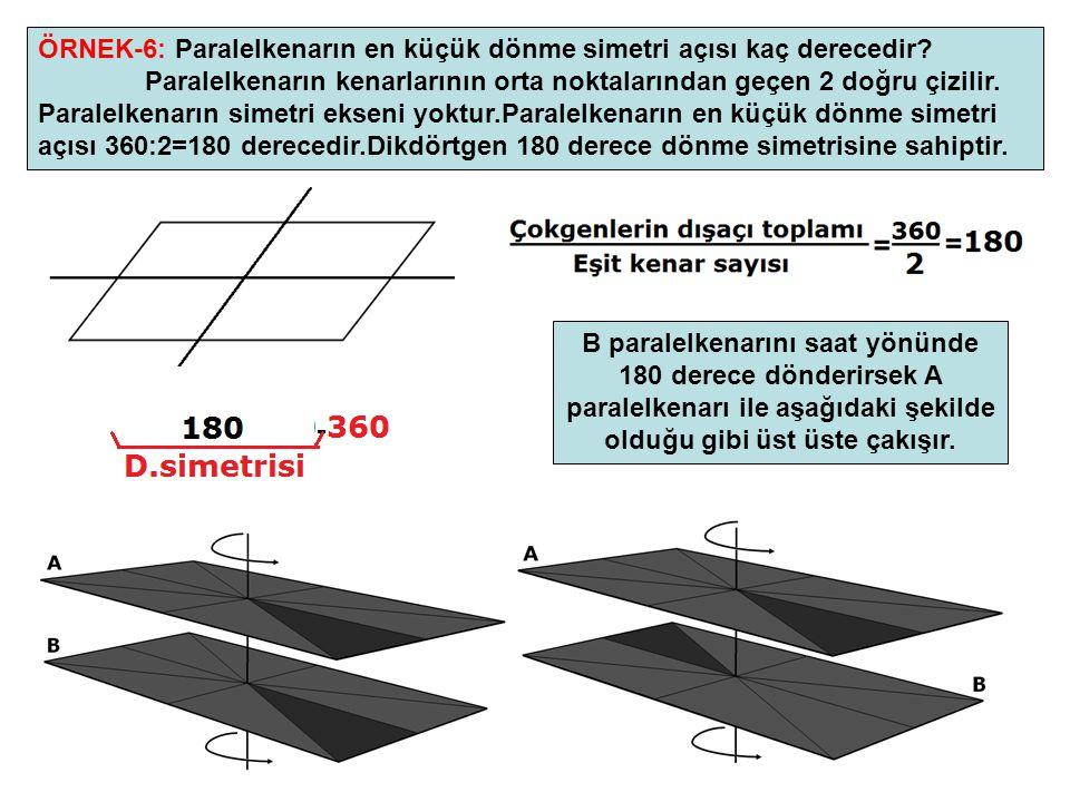 15 ÖRNEK-6: Paralelkenarın en küçük dönme simetri açısı kaç derecedir? Paralelkenarın kenarlarının orta noktalarından geçen 2 doğru çizilir. Paralelke