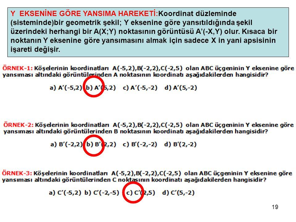19 Y EKSENİNE GÖRE YANSIMA HAREKETİ:Koordinat düzleminde (sisteminde)bir geometrik şekil; Y eksenine göre yansıtıldığında şekil üzerindeki herhangi bi
