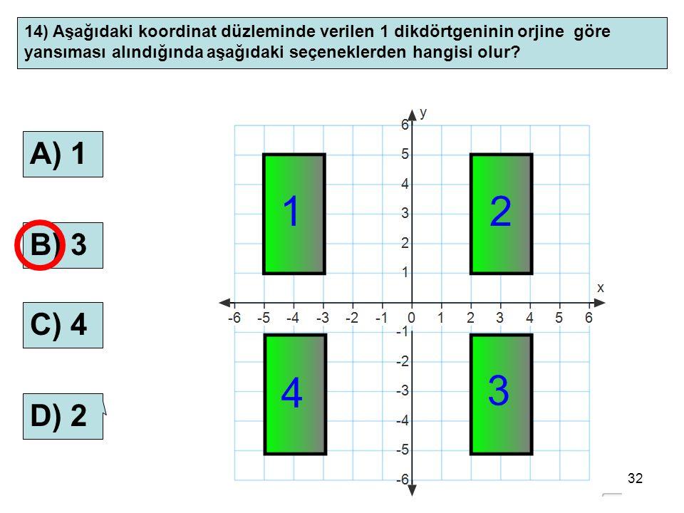 32 14) Aşağıdaki koordinat düzleminde verilen 1 dikdörtgeninin orjine göre yansıması alındığında aşağıdaki seçeneklerden hangisi olur? A) 1 B) 3 C) 4