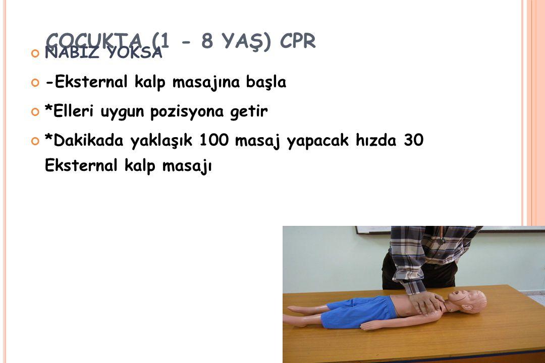 ÇOCUKTA (1 - 8 YAŞ) CPR NABIZ YOKSA -Eksternal kalp masajına başla *Elleri uygun pozisyona getir *Dakikada yaklaşık 100 masaj yapacak hızda 30 Ekstern