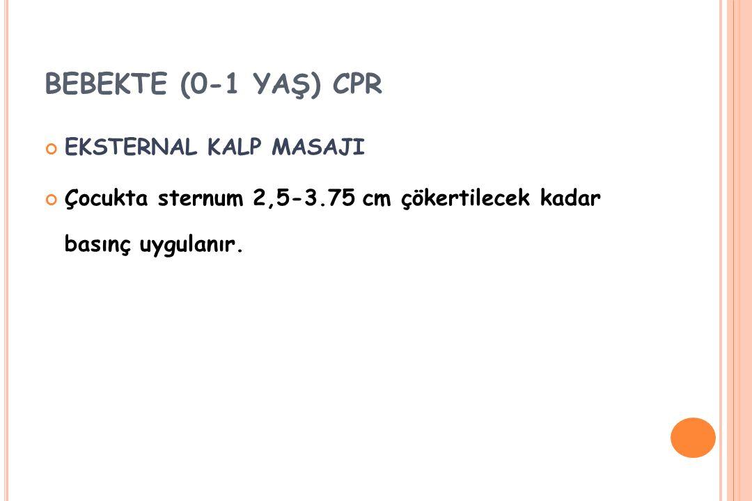 BEBEKTE (0-1 YAŞ) CPR EKSTERNAL KALP MASAJI Çocukta sternum 2,5-3.75 cm çökertilecek kadar basınç uygulanır.