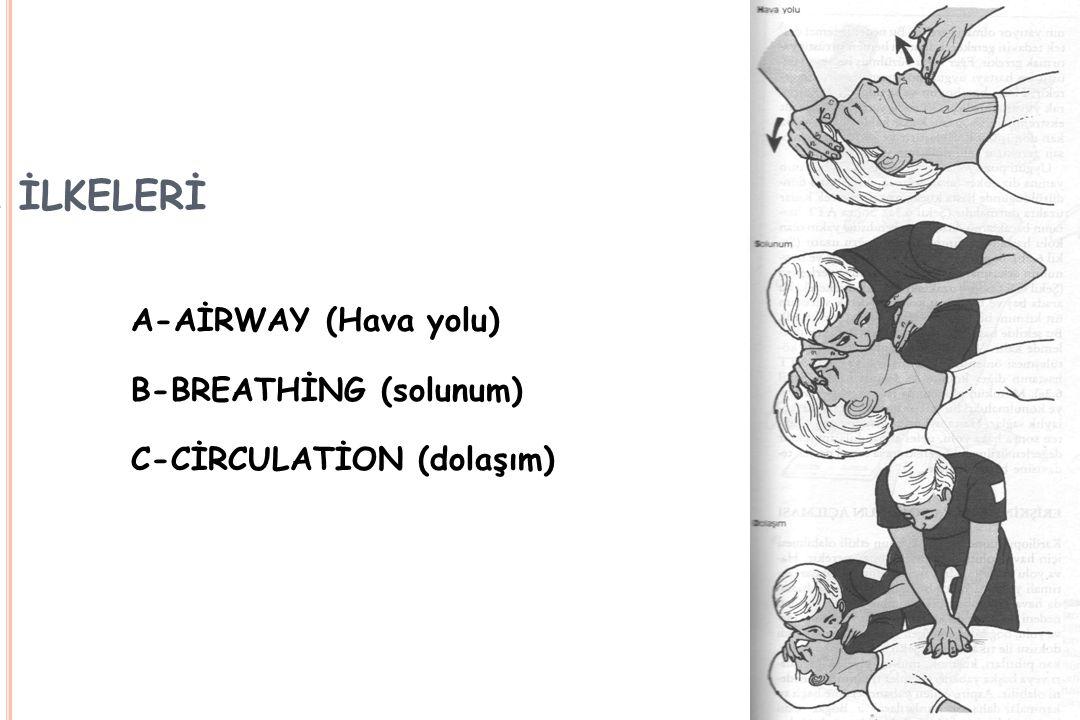 CPR İLKELERİ A-AİRWAY (Hava yolu) B-BREATHİNG (solunum) C-CİRCULATİON (dolaşım)