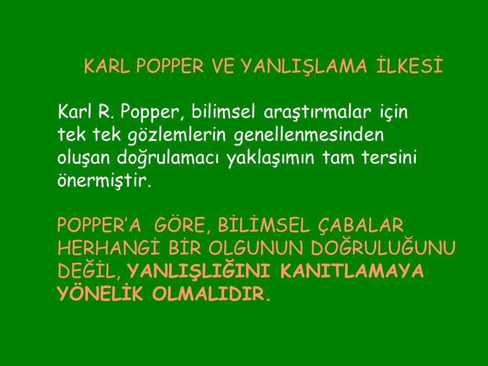 KARL POPPER VE YANLIŞLAMA İLKESİ Karl R. Popper, bilimsel araştırmalar için tek tek gözlemlerin genellenmesinden oluşan doğrulamacı yaklaşımın tam ter