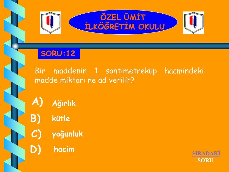 Aşağıdakilerden hangisinin molekülleri serbesttir? su A) benzin kolonya hava B) D) C) SIRADAKİ SORU SORU:11 ÖZEL ÜMİT İLKÖĞRETİM OKULU
