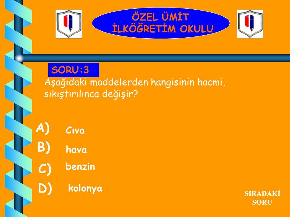 Aşağıdakilerden hangisinin rengi vardır? Demir A) hava su cam B) C) D) SIRADAKİ SORU SORU:2 ÖZEL ÜMİT İLKÖĞRETİM OKULU