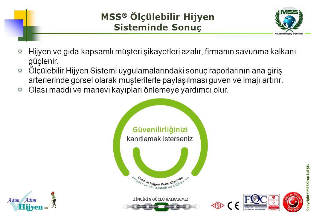ZİNCİRİN GÜÇLÜ HALKASIYIZ Copyright©MSS Grup Ltd Şti. MSS ® Ölçülebilir Hijyen Sisteminde Sonuç Hijyen ve gıda kapsamlı müşteri şikayetleri azalır, fi