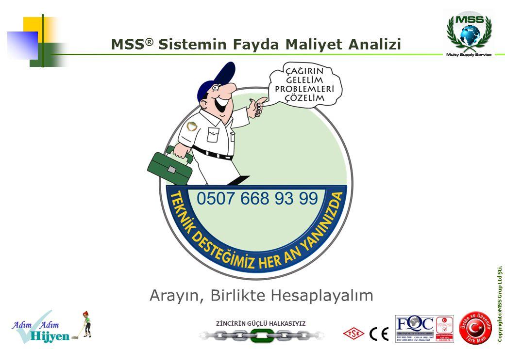 ZİNCİRİN GÜÇLÜ HALKASIYIZ Copyright©MSS Grup Ltd Şti. MSS ® Sistemin Fayda Maliyet Analizi Arayın, Birlikte Hesaplayalım
