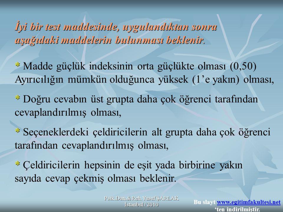 Psik.Dan.& Reh.Yusuf ŞARLAK İstanbul / 2010 İyi bir test maddesinde, uygulandıktan sonra aşağıdaki maddelerin bulunması beklenir. * * Madde güçlük ind