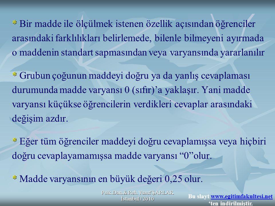 Psik.Dan.& Reh.Yusuf ŞARLAK İstanbul / 2010 * * Bir madde ile ölçülmek istenen özellik açısından öğrenciler arasındaki farklılıkları belirlemede, bile