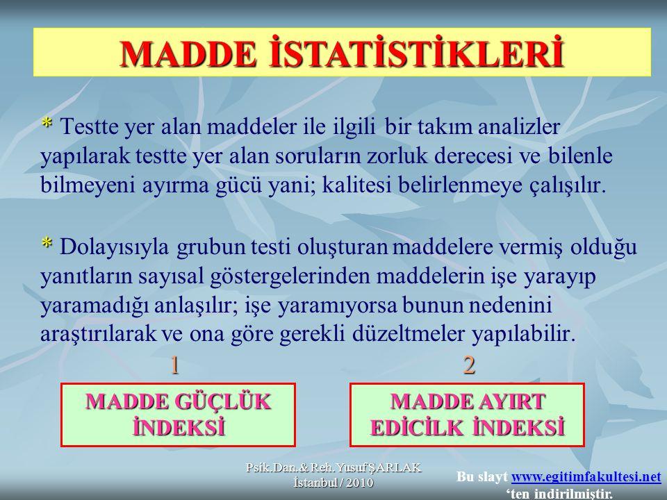 Psik.Dan.& Reh.Yusuf ŞARLAK İstanbul / 2010 * * * Testte yer alan maddeler ile ilgili bir takım analizler yapılarak testte yer alan soruların zorluk d