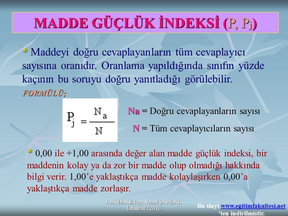 Psik.Dan.& Reh.Yusuf ŞARLAK İstanbul / 2010 * * Bir madde ile ölçülmek istenen özellik açısından öğrenciler arasındaki farklılıkları belirlemede, bilenle bilmeyeni ayırmada o maddenin standart sapmasından veya varyansında yararlanılır * * Grubun çoğunun maddeyi doğru ya da yanlış cevaplaması durumunda madde varyansı 0 (sıfır)'a yaklaşır.